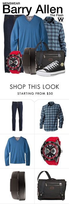 """The Flash"" by wearwhatyouwatch ❤ liked on Polyvore featuring Nudie Jeans Co., Royal Robbins, Mountain Khakis, NIKE, Tumi, Converse, mens, men, men's wear and mens wear"