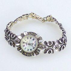 Der klassischen Frauen Sterlingsilber der weißes Gesichts-flüssiges Motiv-Weinlese-Uhr-925.