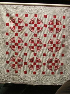 I'm not sure of the name of this quilt or the designer, but it is STUNNING! I believe it was featured in the red and white quilt exhibit in NYC in Spring 2011, but that's all I have been able to find out about it so far...