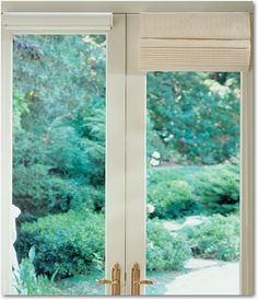 Hunter Douglas Vignette Modern Roman Shades Provide an Unobstructed View Roman Shades French Doors, Modern Roman Shades, French Doors With Screens, Custom Roman Shades, French Door Decor, French Door Curtains, French Doors Patio, Door Paint Colors, Front Door Colors