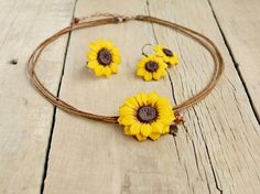 Sunflower jewelry set Sunflower necklace Sunflower earrings and ring Sunflower jewelry Sunflowers wedding Yellow necklace Floral set (59.00 USD) by JewelryByCompliment