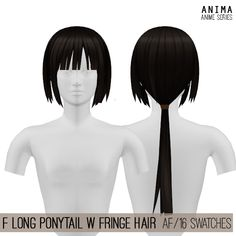 Female Long Ponytail with Fringe Hair by Anima for The Sims 4 (Anime Series) New mesh AF (Teen to Elder) 16 swatches All LODs Sims 4 Hair Male, Sims 4 Male Clothes, Sims Hair, Sims 4 Clothing, Sims 4 Cas, Sims Cc, Fringe Hairstyles, Hairstyles With Bangs, Anime Long Hair