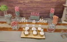 Rustic themed. candy bar. Mint green and pink.