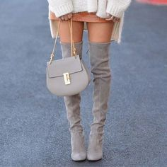 Our fave Stuart Weitzman OTK boots! : @lolariostyle // Follow @ShopStyle on Instagram to shop this look