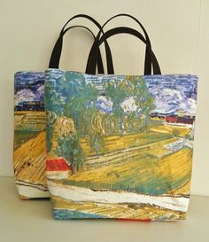 Printed tote bags Van Gogh painting copy beach totes handmade handbags casual chic bag made in France. (170.00 EUR) by SUNSUELLE