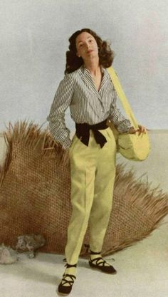 1948 Jacques Fath vintage fashion style late 40s to early 50s designer casual day sportswear resort summer pants shirt blouse stripes lace up shoes espadrilles shoulder bag purse satchel yellow black grey white