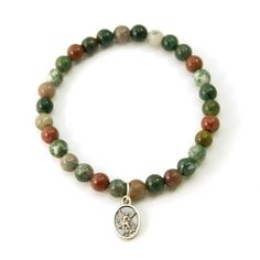 Saint Michael Protector Indian Agate Stretch Bracelet 65 Inches *** You can get more details by clicking on the image. (This is an affiliate link) Stretch Bracelets, Link Bracelets, Beaded Bracelets, Christian Bracelets, Saint Michael, Indian Agate, Green Stone, Metal Stamping, Natural Gemstones