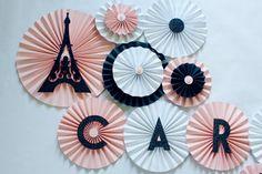 Paper Rosettes - Paper Fans - Pinwheel Backdrop - Paris Party Decorations - Bridal Shower Decorations - Paris Birthday - Eiffel Tower Decor