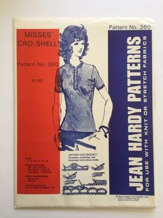 Vintage Jean Hardy Sewing Pattern 360 Misses Cro Shell 1972 Crochet Uncut 6-16 #JeanHardyPatterns #ShellwithCrochetAccets