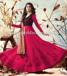 Stylish Black And Pink Anarkali Suit,Black,Pink Anarkali Dress, Anarkali Suits, Indian Fashion Salwar, Pink Fabric, Color Shades, Festival Wear, Salwar Kameez, Party Wear, Elegant