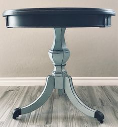 Chalk-painted Table Vintage Shabby Chic Drum style with Wheels (Annie Sloan Paint) hand-painted by Swirl Furniture by SwirlFurniture on Etsy https://www.etsy.com/listing/606074915/chalk-painted-table-vintage-shabby-chic