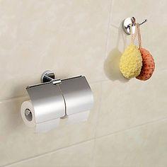 Moderne Chrom-Finish Wandhalterung Doppel Robe Haken und Doppeltoilettenpapier -Halter