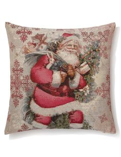 Buy the Vintage Style Santa Jacquard Cushion from Marks and Spencer's range. Christmas Cushions, Christmas Decorations, Christmas Ideas, Vintage Fashion, Vintage Style, Throw Pillows, Red, Gifts, Stuff To Buy
