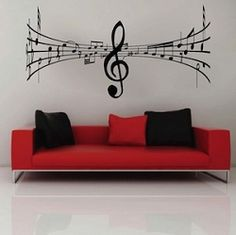 Music symbol wall decal ~ this would be so cool!