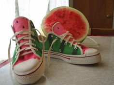 Watermelon Converse shoes! Crafter used permanent markers. I may opt for fabric dye (would need 2 green shades & pink)