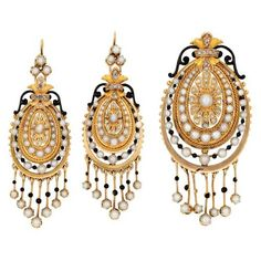 Pair of Antique Gold, Diamond, Pearl and Black Enamel Fringe Earrings and Brooch, c. 1870.