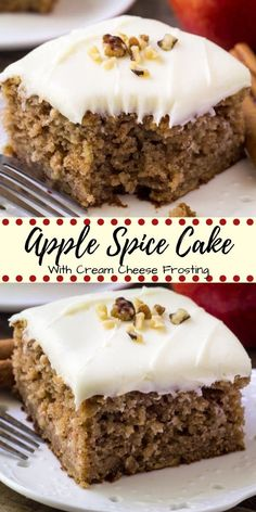 dessert recipes This apple spice cake with cream cheese frosting is packed with flavor, filled with cinnamon, and has a delicious caramel undertone thanks to brown sugar. Then topped with fluffy cream cheese frosting its the perfect cake for fall! Trifle Desserts, Strawberry Desserts, Lemon Desserts, Mini Desserts, Just Desserts, Delicous Desserts, Dessert Healthy, Delicious Food, Healthy Food