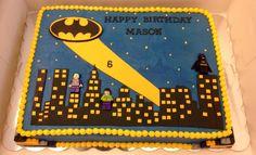 Batman Sheet Lego Batman cake. Fondant city and Legos. Figures are toys.