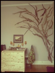 Driftwood tree ...wall art that you can always keep adding to.  (Inspiration credit to Jesse Allan!)