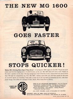 1959 MGA 1600 Sports Car Magazine Advertisement
