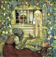"""Alvida's Window, by John Bauer. """"Alvida did not touch any of the fruit herself. She let it fall, piece by piece, and tired and thirsty travelers came along, picked up a pear or an apple, and blessed the gift."""""""