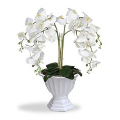 Arranjo de Flores Artificiais Orquideas Bancas Cachepot Pedestal Branco 60x30 cm