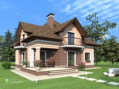 Рабочий проект жилого дома, с мансардой Small House Layout, House Layouts, Country House Design, House Front Design, Halls, Beautiful Small Homes, Riverside House, American Houses, Dream House Plans