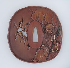 Tsuba with design of Chinese sage. Japanese Edo period–Meiji era mid to late 19th century (before 1890) - Signature by Baidô http://www.mfa.org/collections/object/tsuba-with-design-of-chinese-sage-9977