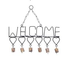 Welcome Wind Chimes with Gangling Metal Hearts and Bells- BENZARA