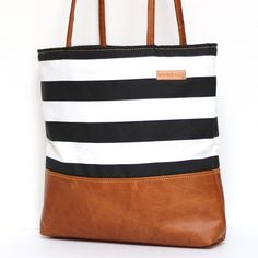 48ea0b9be1f5 Clara - Black and White Stripe with Patchwork Leather