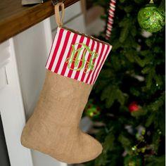 Personalized Burlap Stripe Christmas Stocking