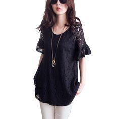 Blusas de renda estilo verão 2015 blusa de renda de manga curta preta vintage plus size 5XL mulheres camisas Blusas tops RD460 femal em Blusas de Roupas e Acessórios no AliExpress.com | Alibaba Group
