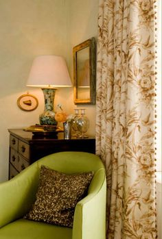 """Attic Mag: """"These chintz curtains, in an English beach house by Guy Goodfellow, have a discreet trim that resembles rick rack on the leading edge. Understated, but quintessentially bespoke, this edge style has a serious air that is looks so traditionally English."""""""