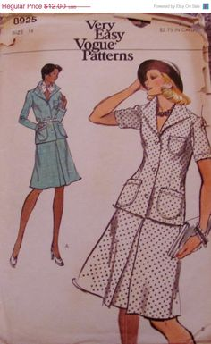 Sale Sale Sale Vintage 70s Vogue 8925 by SewYesterdayPatterns (Craft Supplies & Tools, Patterns & Tutorials, Sewing & Needlecraft, Sewing, commercial, paris design, vogue pattern, sewing pattern, craft supplies, vintage pattern, 1970s pattern, sewing supplies, collectibles, size 14, women's blouse, misses skirt pattern, blouse pattern)