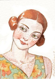 """Woman Portrait Face Redhead Freckles ACEO """"Myrna the Impish""""  Limited Edition Print by Amy Abshier Reyes 7/50"""