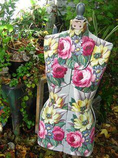 Barkcloth Covered Vintage Dress Form