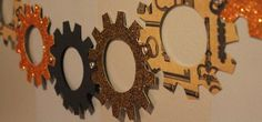 This is a great way to create the decor... hadn't thought about it! http://steampunk.wonderhowto.com/how-to/steampunk-your-halloween-decorations-with-these-diy-interlocking-paper-gears-0139958/