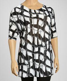 71b732e350b Black   White Abstract Block Scoop Neck Tunic - Plus