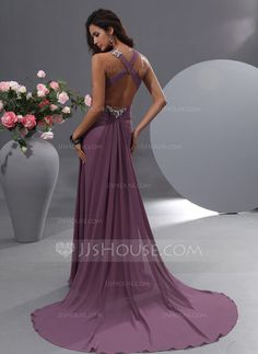 A-Line/Princess V-neck Watteau Train Chiffon Evening Dress With Ruffle Beading (017022755) - JJsHouse