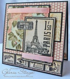 Wonderful Le Romantique and Curtain call card by @Gloria Mladineo Stengel. Love how she combined the two to make such a stunning card #graphic45 #cards