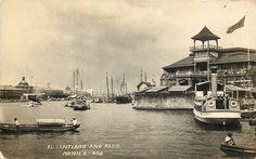 Manila's Fort Santiago and Pasig River. ca 1920 Fort Santiago, Intramuros, Filipino Culture, Filipiniana, Cool Photos, Interesting Photos, Vintage Pictures, Philippines, Spanish