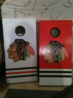 Custom Cornhole Set - Chicago Blackhawks