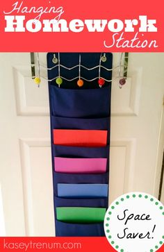 DIY Hanging Homework Station. Here's the homework station organizer I put together for the kitchen – isn't it cute and colorful??  Check out how I made it!