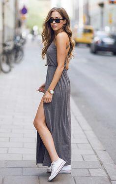 Grey maxi dress. White Converse All Stars. THis is the reason I want Chucks soooo bad!!