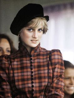Princess Diana wearing a tartan dress & John Boyd hat at the Sep 4,1982 at the Annual Balmoral holiday, attending the Braemar Highland games.