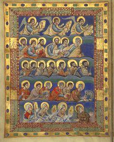 Sacramentaire de Charles le Chauve : folio 5 v° : les hiérarchies célestes & les saints célèbrent la divine liturgie