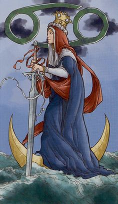 Queen of Swords - Universal Wirth Tarot (this card is associated with cancer?)