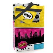 BAM! Girl Superhero - Baby Shower or Birthday Party Favor Boxes - Set of 12