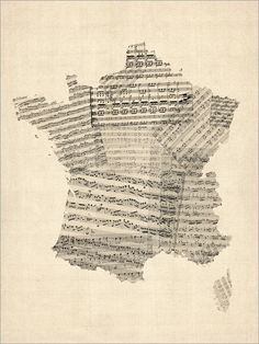 Map of France made with old sheet music.