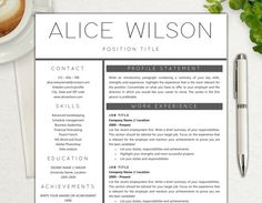 Resume Template  Professional And Simple Two Page Resume Template